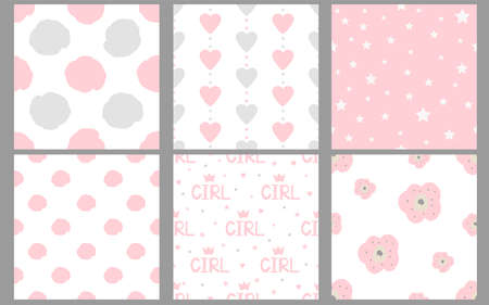 Girl seamless patterns. Baby digital paper. Pink and gray. Vector. 일러스트
