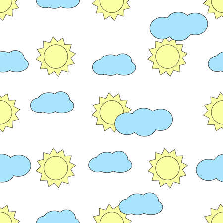 Seamless pattern with sun and clouds. Colorful background. Vector illustration