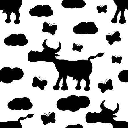 Cow seamless pattern. Black and white. Vector illustration.