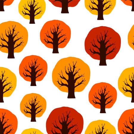 Trees digital paper. Autumn seamless pattern. Vector background. 일러스트