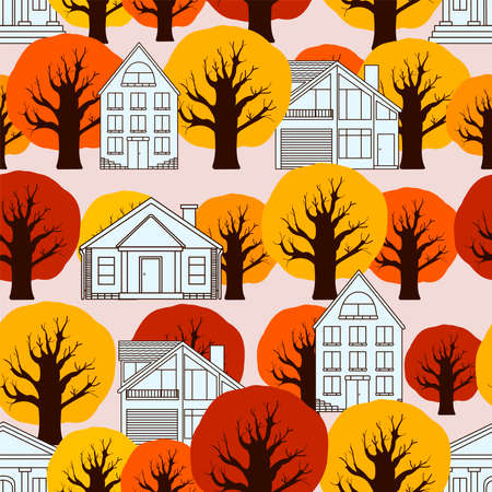 Houses digital paper. Autumn seamless pattern. Vector background.