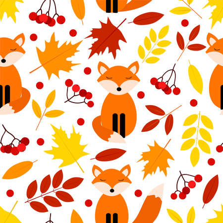 Autumn seamless pattern. Colorful leaves, foxes and rowan. Digital paper. Vector background. 일러스트