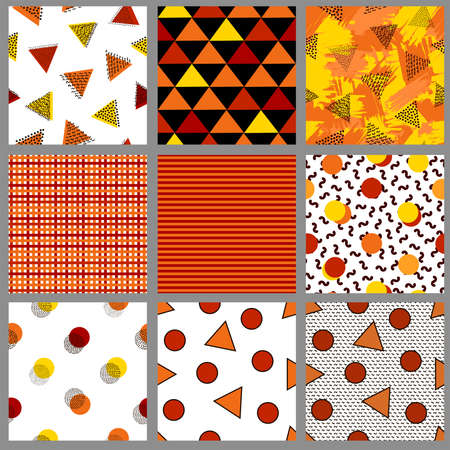 Geometric seamless patterns. Autumn digital papers. Vector backgrounds. 일러스트
