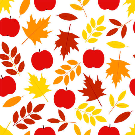 Autumn seamless pattern. Leaves and apples. Digital paper. Vector background.