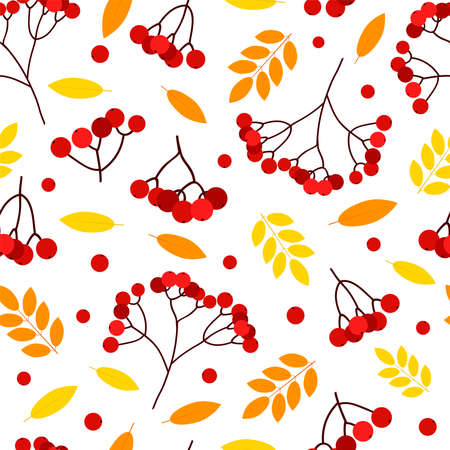 Autumn seamless pattern. Leaves and rowan. Digital paper. Vector background.