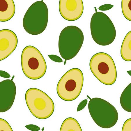 Avocado seamless pattern on white