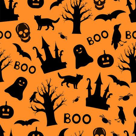 Halloween seamless pattern. Black and orange background. Vector illustration.