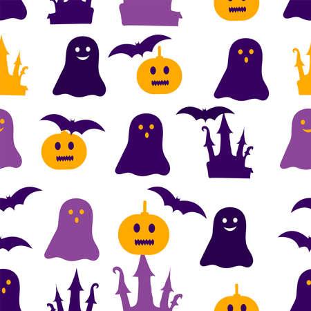 Halloween seamless pattern. Colorful digital paper. Vector illustration.
