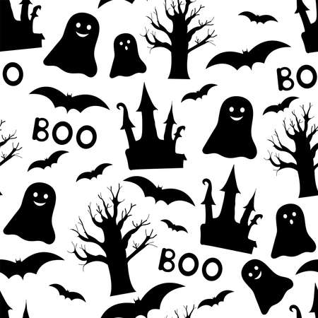 Halloween seamless pattern. Black and white digital paper. Vector illustration. 일러스트