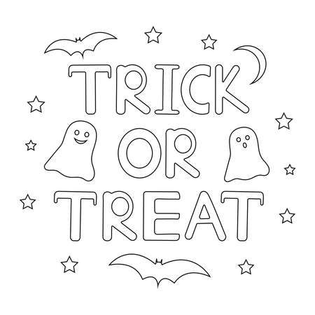 Halloween coloring page. Trick or treat. Creative background. Vector illustration