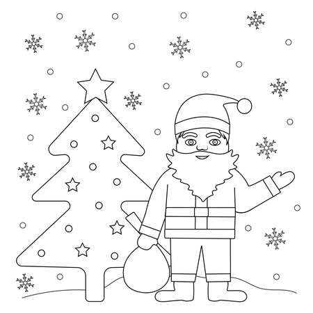 Coloring page. Santa, Christmas tree and snowflakes. Vector background.