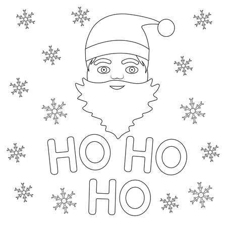 Coloring page. Santa face and snowflakes. Ho ho ho. Vector background.  イラスト・ベクター素材