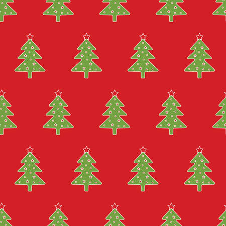 Seamless pattern of Christmas tree on red