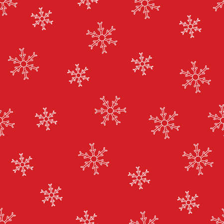 Seamless pattern of white snowflakes on red