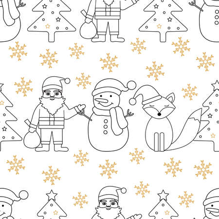 Christmas seamless pattern. Background with Santa Claus, Christmas tree, snowman, fox and snowflakes. Vector illustration.