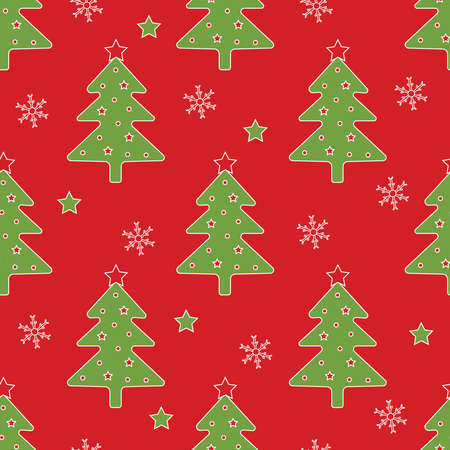 Christmas seamless pattern. Christmas tree and snowflakes on the red background. Vector illustration.