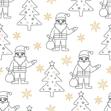 Christmas seamless pattern. Background with Santa Claus, Christmas tree and snowflakes. Vector illustration.  イラスト・ベクター素材