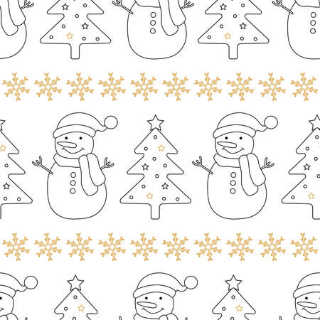 Christmas seamless pattern. Background with Christmas tree, snowman and snowflakes. Vector illustration.  イラスト・ベクター素材