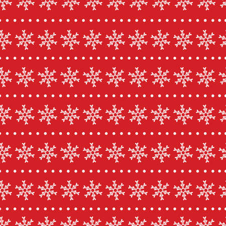 Christmas seamless pattern. White snowflakes on the red background. Vector illustration.  イラスト・ベクター素材