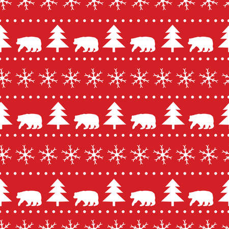 Christmas seamless pattern. White snowflakes, bear and fir-tree on the red background. Vector illustration.