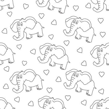 Elephant seamless pattern. Cute animal and hearts. Vector illustration.