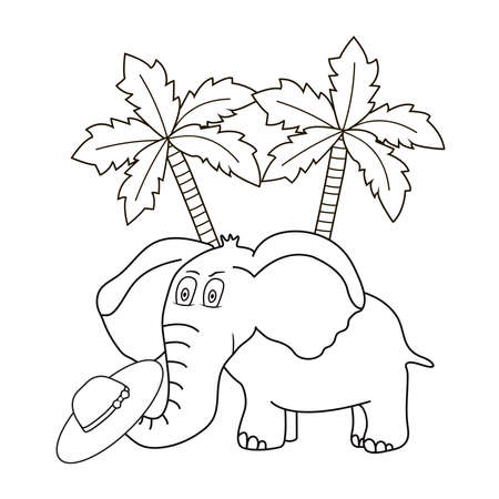 Elephant. Cute animal and palms. Coloring page. Vector illustration.