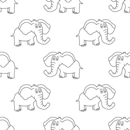 Elephant seamless pattern. Cute animals. Vector illustration.