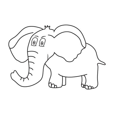 Elephant. Cute animal. Coloring page. Vector illustration.