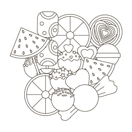 Candy coloring page. Candies. Vector illustration.  イラスト・ベクター素材
