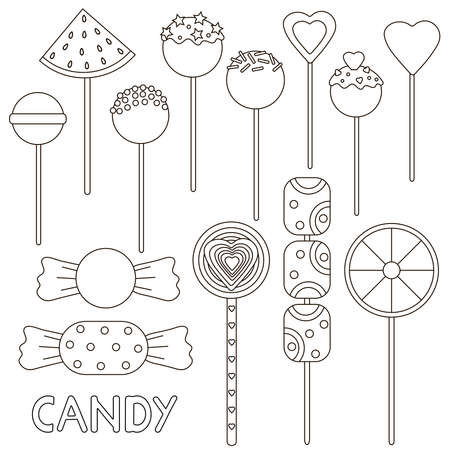 Candy coloring page. Candies set. Vector illustration. Ilustracje wektorowe