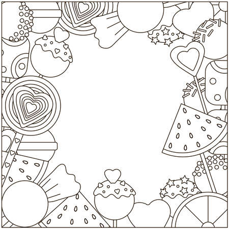 Candy coloring page. Candies frame. Vector illustration.