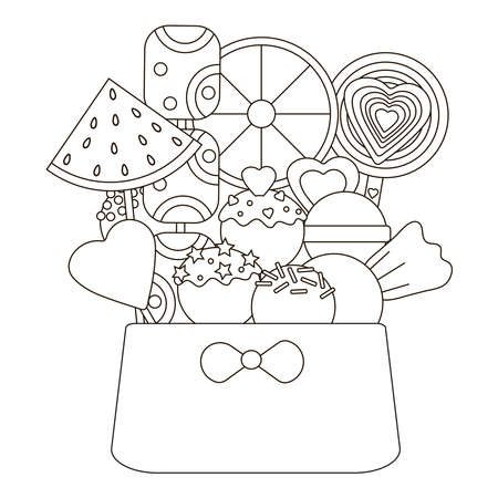 Candy coloring page. Candies in basket. Vector illustration.
