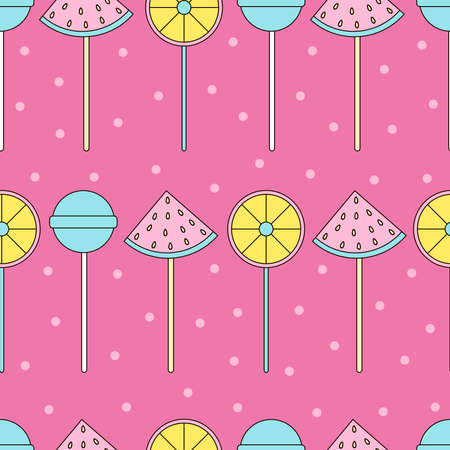 Candy seamless pattern. Lollipops background. Sweets. Colorful candies.  イラスト・ベクター素材