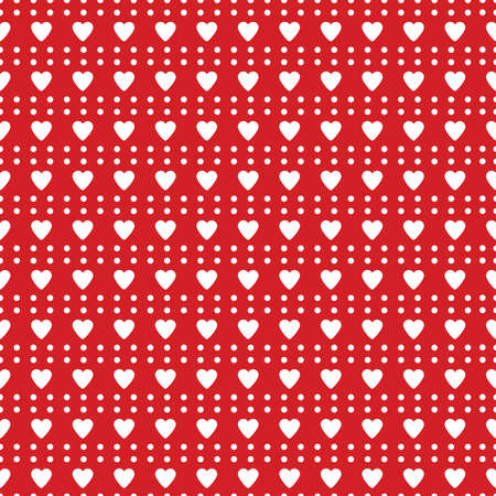 Heart seamless pattern. Love. Red and white background. Valentines day.