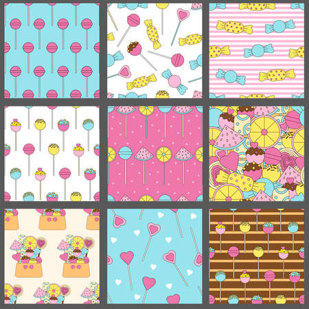Candy seamless patterns. Lollipops backgrounds. Sweets. Colorful candies. Set. Digital papers.