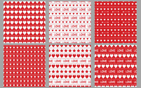 Heart seamless patterns. Love. Red and white backgrounds. Valentines day. Set.