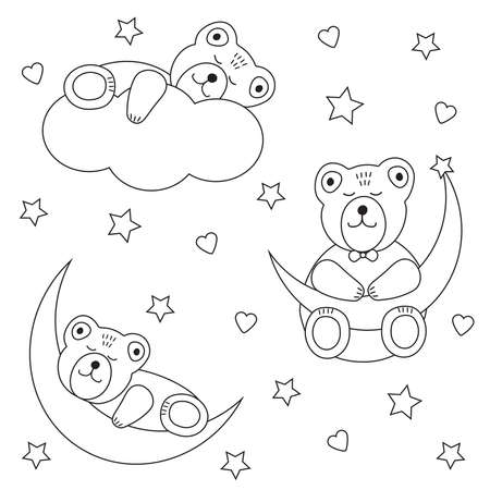 Cute bears sleeps. Moon and cloud. Stars and hearts. Coloring page. Vector illustration.  イラスト・ベクター素材