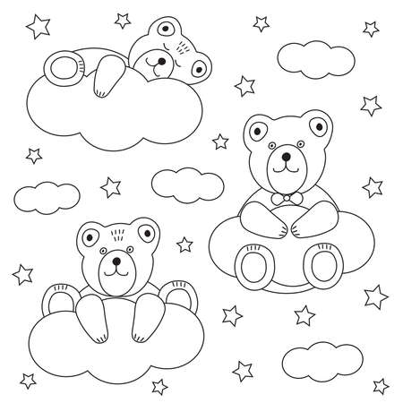 Cute bears. Clouds and stars. Coloring page. Vector illustration.