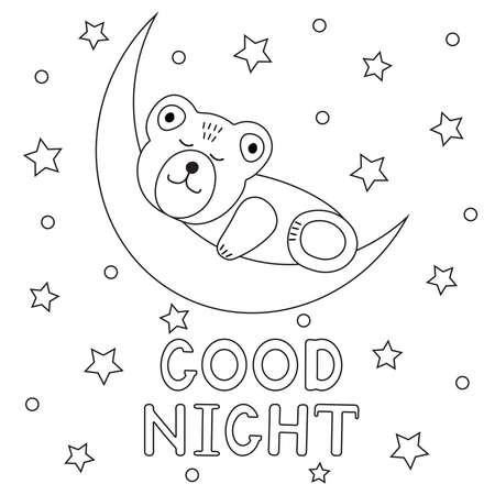 Cute bear sleeps on a moon.Good night. Coloring page. Vector illustration.