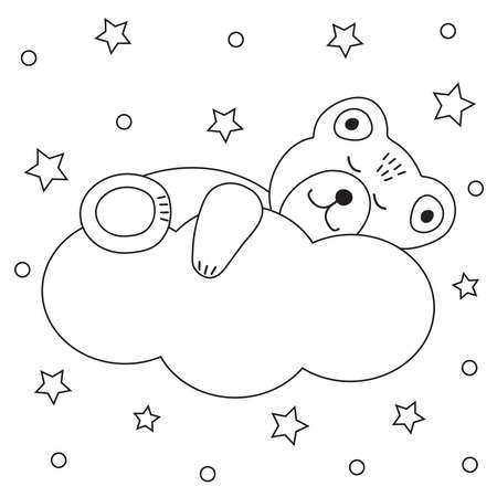 Cute bear sleeps on a cloud and stars. Coloring page. Vector illustration.