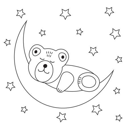 Cute bear sleeps on a moon.Coloring page. Vector illustration.  イラスト・ベクター素材