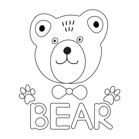 Cute bear face. Coloring page. Vector illustration.