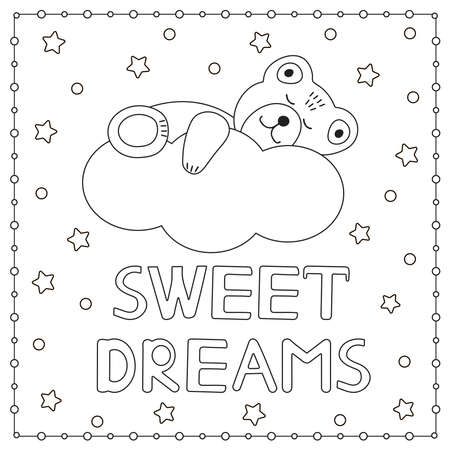 Sweet dreams. Cute bear sleeping on a cloud. Coloring page. Vector illustration.
