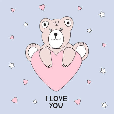 Cute bear and heart. I love you card. Vector illustration.