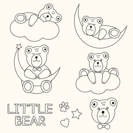 Cute bears. Outline, line animals. Set. Vector.