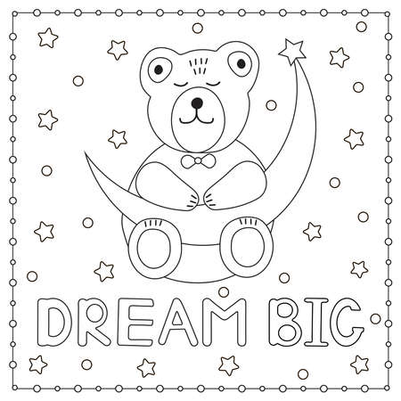 Dream big. Cute bear sleeping and moon. Coloring page. Vector illustration.  イラスト・ベクター素材