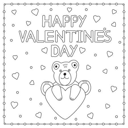 Happy Valentine's Day. Cute bear and heart. Coloring page. Vector illustration.  イラスト・ベクター素材