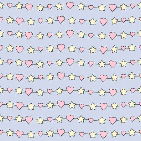 Hearts and stars seamless pattern. Cute design. Vector illustration.  イラスト・ベクター素材