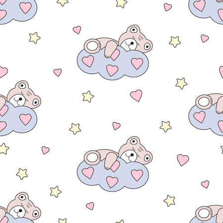 Cute bear sleeps on a cloud. Hearts and stars. Seamless pattern. Vector illustration.  イラスト・ベクター素材