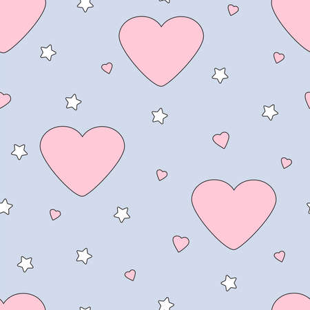 Hearts seamless pattern. Cute design. Vector illustration.
